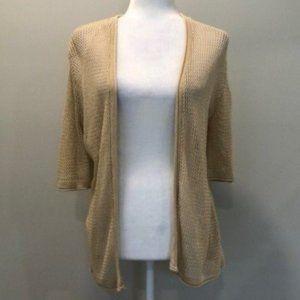 Joseph A. Cream Knit Open Cardigan Sleeves Large